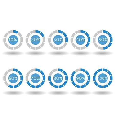 70 80: icons pie graph circle percentage blue chart 10 20 30 40 50 60 70 80 90 100 % set illustration round vector Illustration
