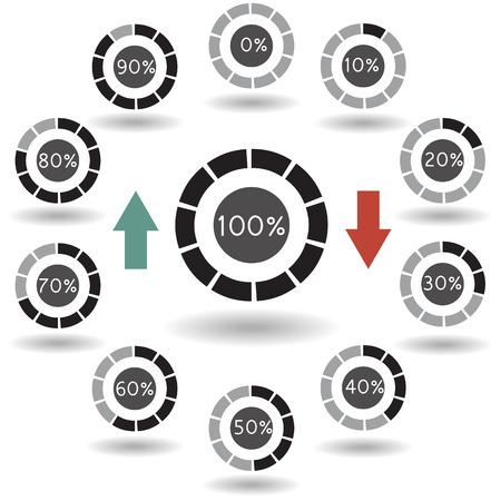 70 80: icons pie graph circle percentage black chart 0 10 20 30 40 50 60 70 80 90 100 % set illustration round vector