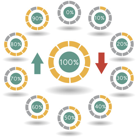 70 80: icons pie graph circle percentage yellow chart 0 10 20 30 40 50 60 70 80 90 100 % set illustration round vector Illustration