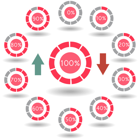 segmented: icons pie graph circle percentage red chart 0 10 20 30 40 50 60 70 80 90 100 % set illustration round vector