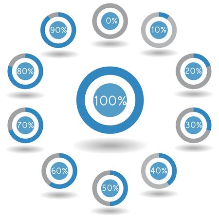 70 80: icons pie graph circle percentage blue chart 0 10 20 30 40 50 60 70 80 90 100 % set illustration round vector Illustration