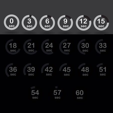 increments: Time, clock, stopwatch, timer progress circles set 0-60 sec with increments of 5 sec black vector illustration