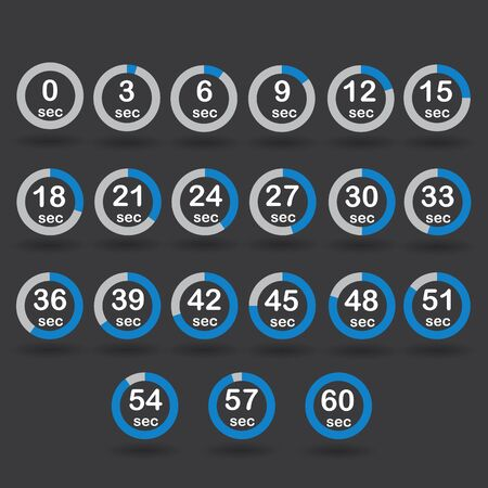 sec: Time, clock, stopwatch, timer progress circles set 0-60 sec with increments of 5 sec blue vector illustration