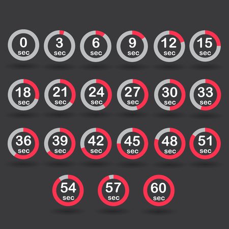 sec: Time, clock, stopwatch, timer progress circles set 0-60 sec with increments of 5 sec red vector illustration