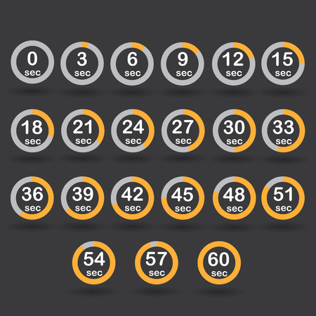 increments: Time, clock, stopwatch, timer progress circles set 0-60 sec with increments of 5 sec yellow vector illustration Illustration