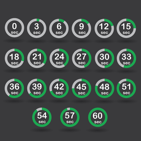 increments: Time, clock, stopwatch, timer progress circles set 0-60 sec with increments of 5 sec green vector illustration