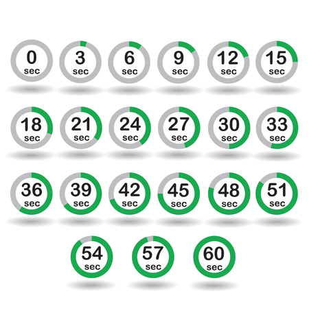 sec: Time, clock, stopwatch, timer progress circles set 0-60 sec with increments of 5 sec green vector illustration