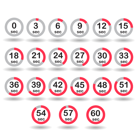 increments: Time, clock, stopwatch, timer progress circles set 0-60 sec with increments of 5 sec red vector illustration