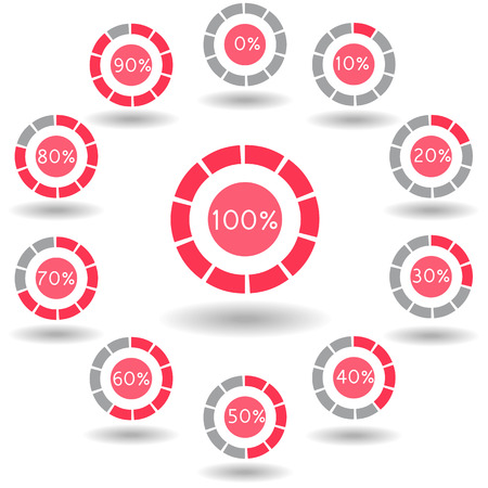 70 80: icons pie graph circle percentage red chart 0 10 20 30 40 50 60 70 80 90 100 % set illustration round vector