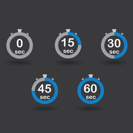 sec: Time, clock, stopwatch, timer progress circles set 0 15 30 45 60 sec blue sport rings vector illustration Illustration