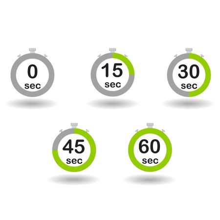sec: Time, clock, stopwatch, timer progress circles set 0 15 30 45 60 sec green sport rings vector illustration Illustration