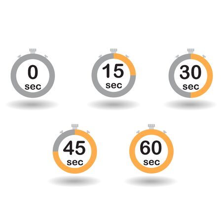 sec: Time, clock, stopwatch, timer progress circles set 0 15 30 45 60 sec yellow sport rings vector illustration