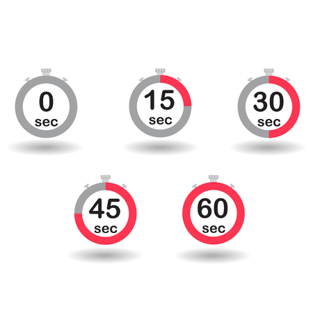 sec: Time, clock, stopwatch, timer progress circles set 0 15 30 45 60 sec red sport rings vector illustration