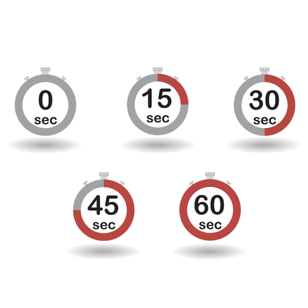 sec: Time, clock, stopwatch, timer progress circles set 0 15 30 45 60 sec red sport rings vector illustration
