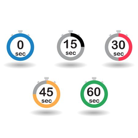 sec: Time, clock, stopwatch, timer progress circles set 0 15 30 45 60 sec rainbow sport rings vector illustration Illustration