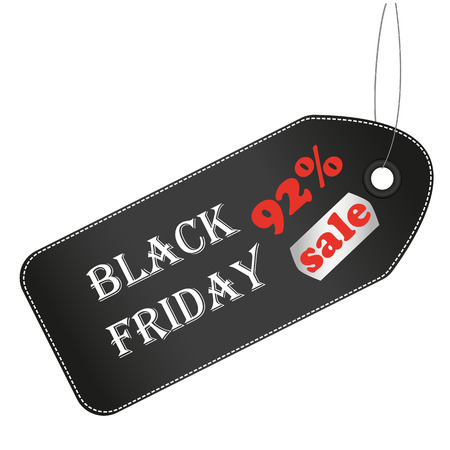 92: Black friday sale price tag. Sale tag 92%. Vector illustration. Illustration