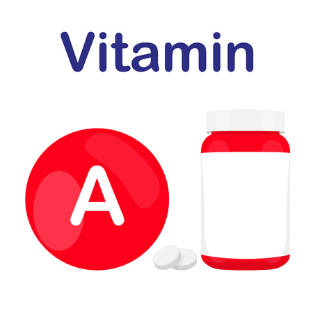 prescription bottles: Vitamin A with bottle of tablets, capsules and pills. Red circle. bubble Vector illustration
