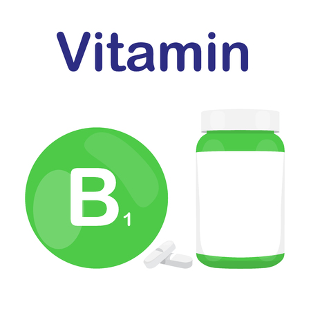 b1: Vitamin B1 B 1 with bottle of tablets, capsules and pills. Green circle bubble. Vector illustration