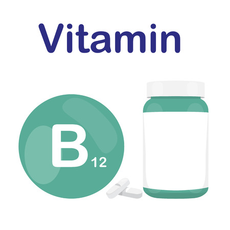 capsules: Vitamin B12 B 12 with bottle of tablets, capsules and pills. Green circle bubble. Vector illustration