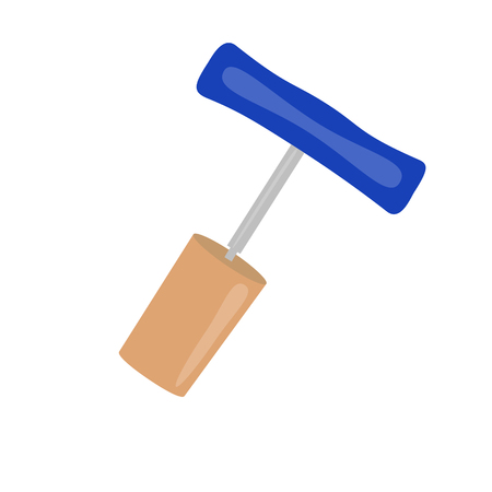 unzipping: cork and corkscrew blue vector illustration