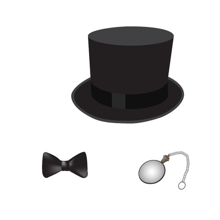 sir: Gentelman like a sir set. Cylinder bow tie and monocle. Vector illustration.