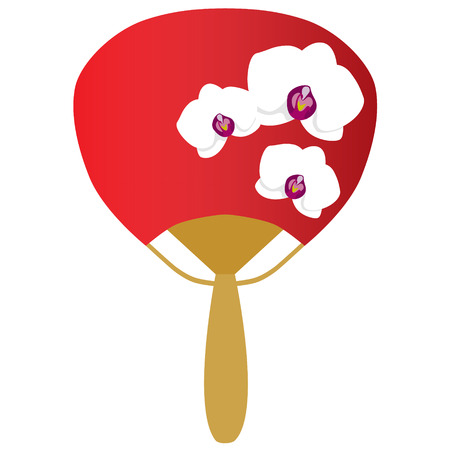 hand fan: fancy oriental red hand fan with white orchids isolated vector illustration