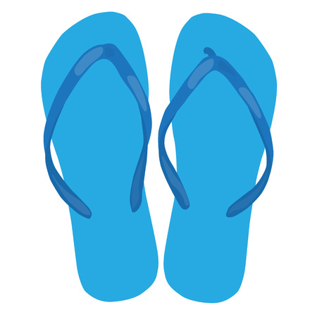 beach slippers: blue beach slippers pair colorful isolated vector illustration