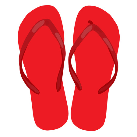 beach slippers: red beach slippers pair colorful isolated vector illustration Illustration