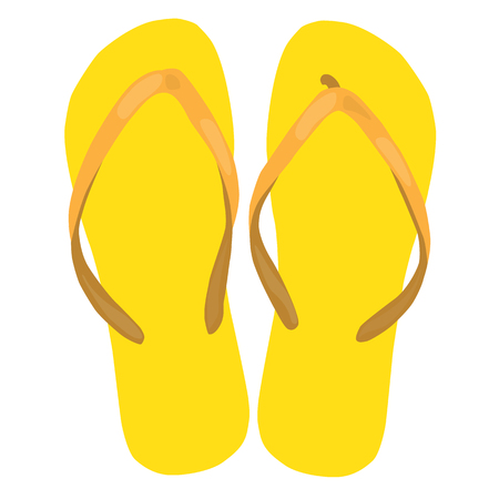 beach slippers: yellow beach slippers pair colorful isolated vector illustration
