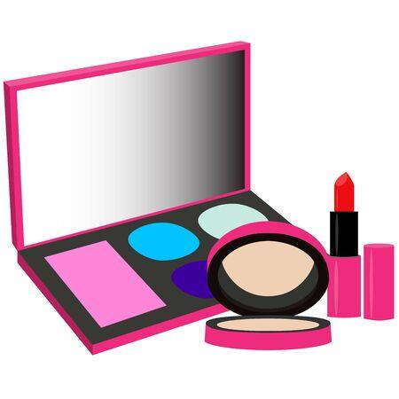 pelette powder lipstick set pink purple  vector illustration