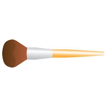 makeup powder: makeup powder brush blush brown vector illustration