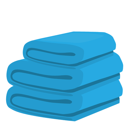 towels: stack of blue domestic bath beach towels isolated vector illustration