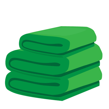 stack of green domestic bath beach towels isolated vector illustration Illustration