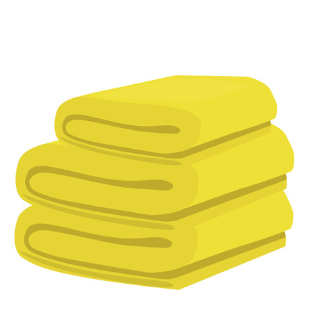 absorb: stack of yellow domestic bath beach towels isolated vector illustration Illustration