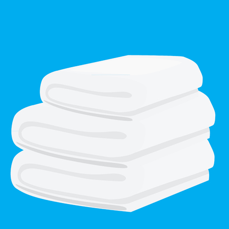 absorb: stack of white domestic bath beach towels isolated vector illustration