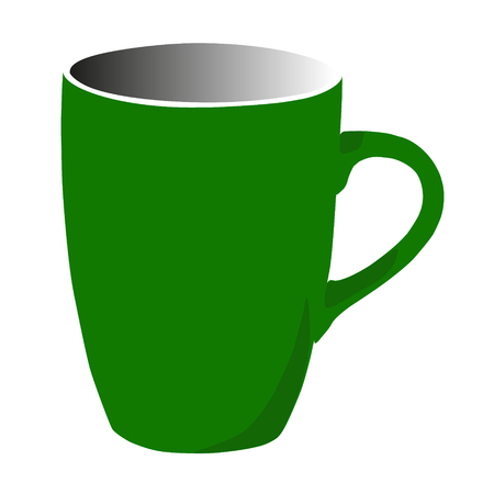 big student tea coffee green mug vector illustration