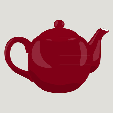 porcelain: vine porcelain teapot isolated vector illustration