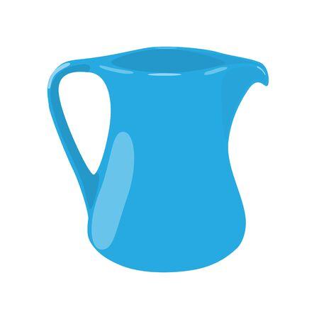 milk jar blue porcelain isolated vector illustration