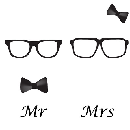 mr: Mr and Mrs hipsters. Hipster Glasses Icon set with bow tie. Vector illustration