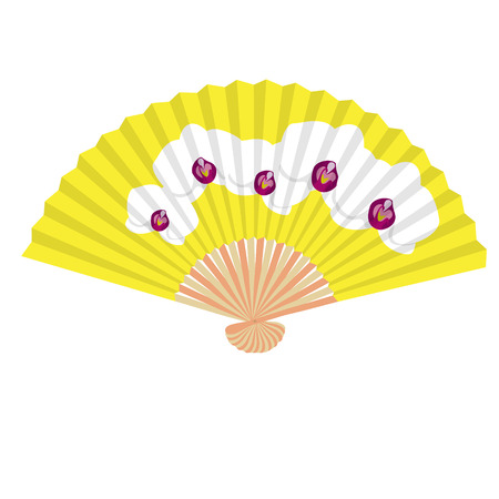 fancy yellow hand fan with white orchids isolated vector illustration Illustration