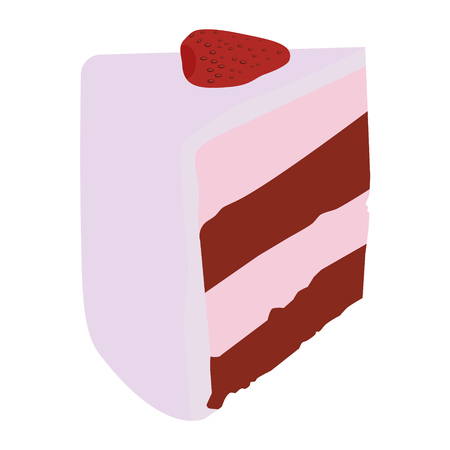 indulgence: Cake slice strawberry vector illustration