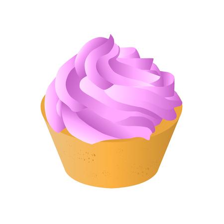 creamy: sweet tasty creamy cupcake isolated vector illustration
