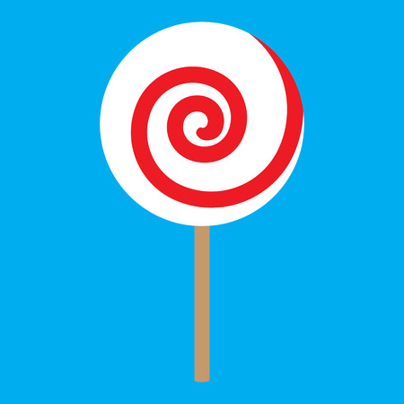 lick: lolipop red spiral on blue background vector illustration