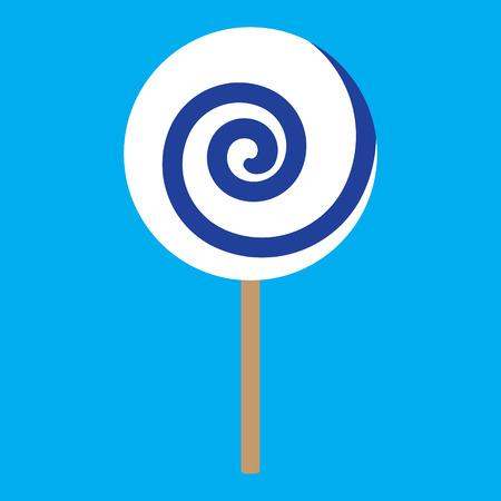 blue spiral: lolipop blue spiral on blue background vector illustration