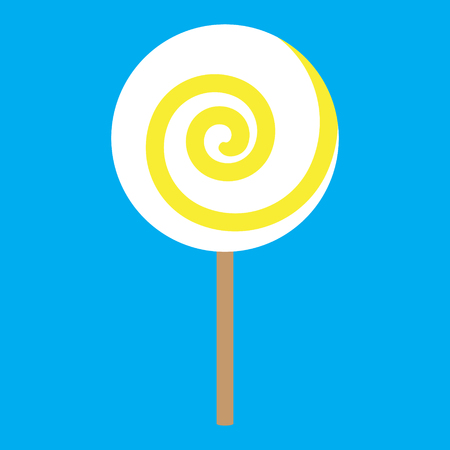 confection: lolipop yellow spiral on blue background vector illustration