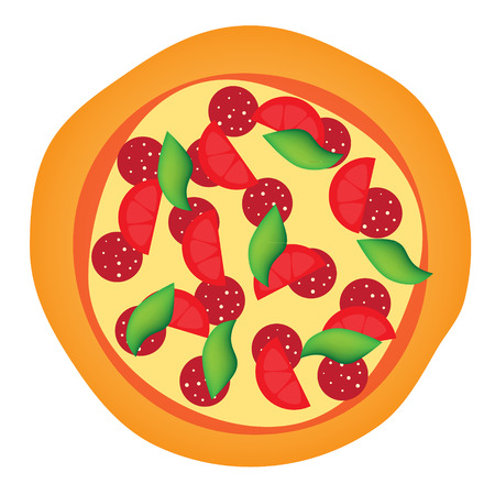 pepperoni: pepperoni tomato basil pizza isolated vector illustration