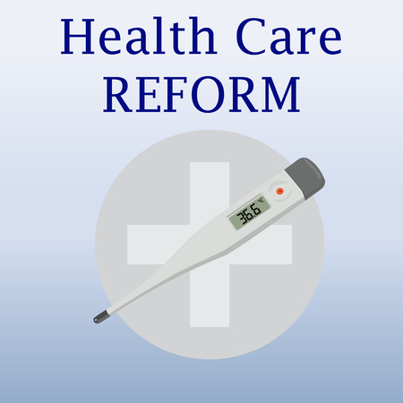 health reform: Health care reform iilustration. Modern thermometer. Medical thermometer. Isolated thermometer on blue background. Medical cross. Contemporary medicine for healthcare. 36.6 celsius. Vector illustration.