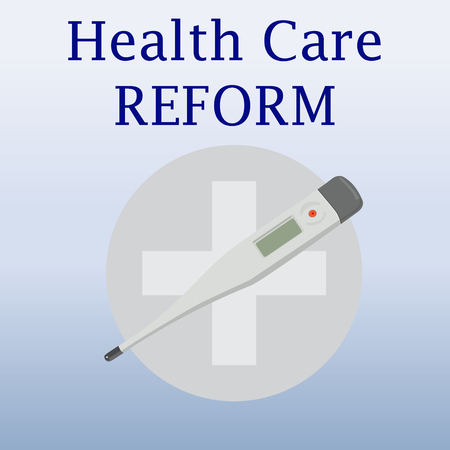 health reform: Health care reform. Modern thermometer. Medical thermometer. Isolated thermometer on blue background. Medical cross. Contemporary medicine for healthcare. Vector illustration.