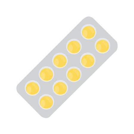 a tablet blister: Vector illustration yellow pills blister. Tablet strip icon. Round pills in a blister pack