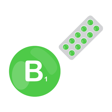 b1: Vitamin B1 B 1 with blister of pills tablets capsules. Green circle. Isolated icon. Vector illustration